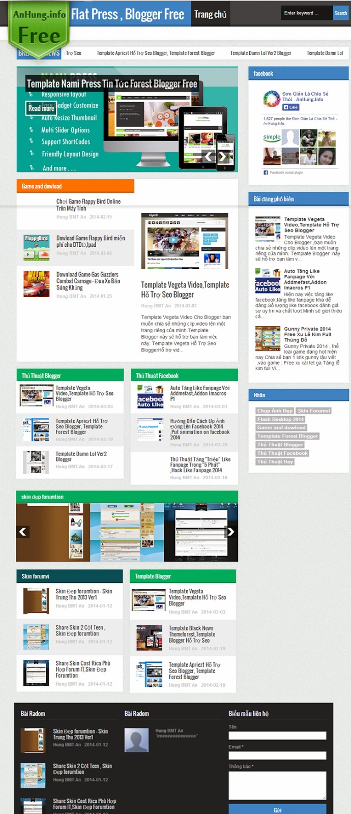 Template Flat Press ho tro seo Blogger
