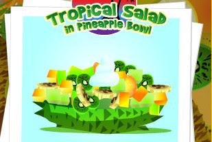 Juego de hacer una ensalada de frutas tropicales