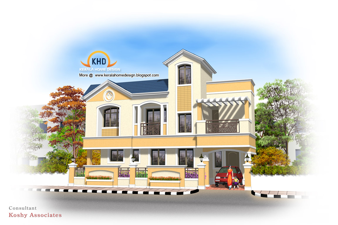 South indian house elevation models building front for South indian model house plan