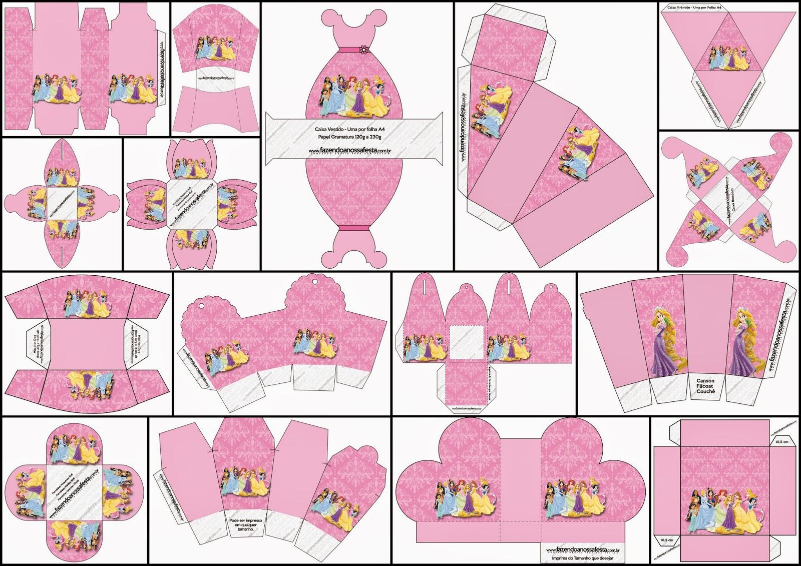 Disney Princess Pary: Free Printable Boxes.