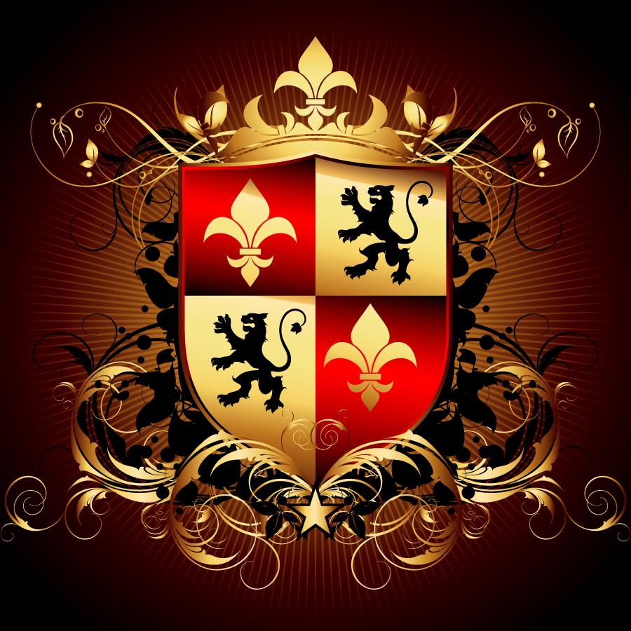 高貴な王室の紋章 royal heraldry and arms イラスト素材5