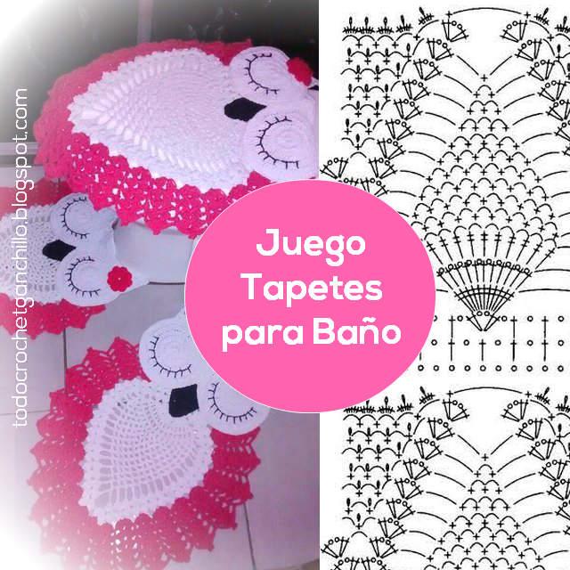 Juegos De Baño Bonitos:Juego de alfombras y tapas de inodoro para toilette al crochet