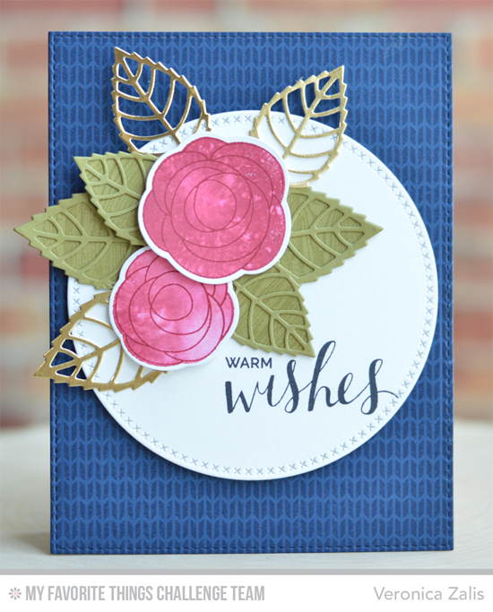 Warm Wishes Card by Veronica Zalis featuring the Lisa Johnson Designs Scribble Roses stamp set and Die-namics, Hand Lettered Holiday stamp set, Sweater Stitch Background stamp, and the Layered Leaves DIe-namics #mftstamps