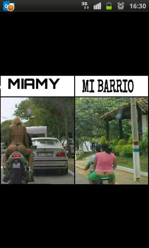 comparación entre Miamy y mi barrio: las novias de los motoristas no se parecen demasiado...