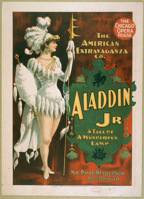 advertising, art, classic posters, free download, graphic design, movies, retro prints, theater, vintage, vintage posters, Aladdin Jr., A Tale of A Wonderful Lamp, The Chicago Opera House - Vintage Theater Poster