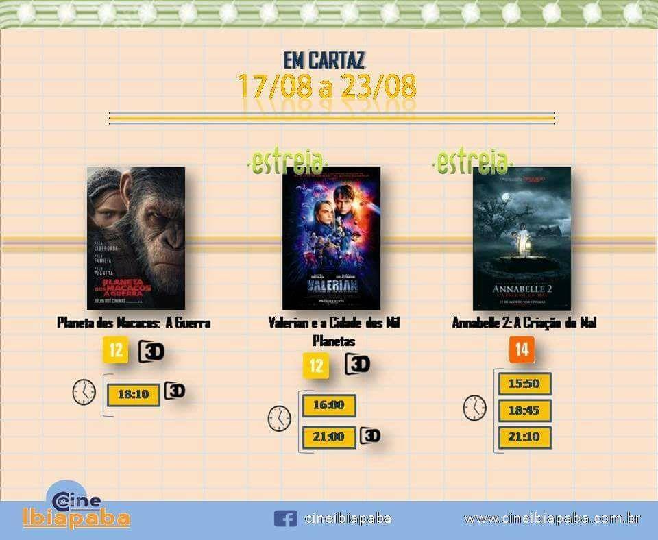 Nova programação no Cine Ibiapaba, do dia 17/08 a 23/08.