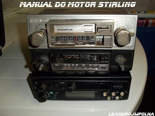 Manual do motor Stirling, rádio de toca fitas auto reverce