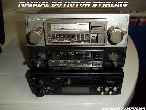 Manual do motor Stirling, rádio de toca fitas auto reverce