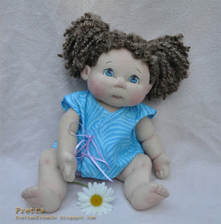 fretta textile baby doll 38 cm 15 curly brown hair