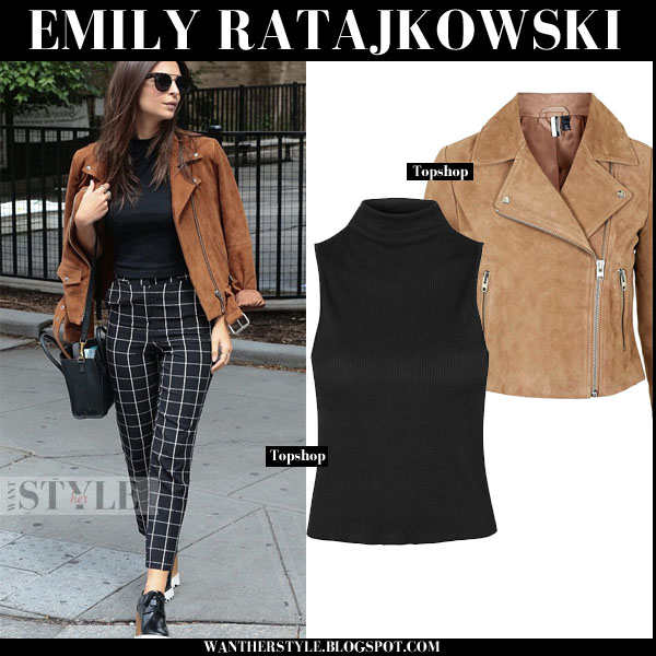 Emily Ratajkowski in brown suede biker Topshop jacket and black high neck Topshop top models off duty what she wore