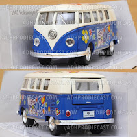 Miniatur VW Bus 1962 White Top Motif (Blue-32K)