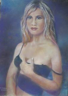 obraz przedstawiający młodą kobietę w powabnej pozie, autorstwa Marka Strójwąsa