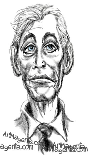 Peter O'Toole caricature cartoon. Portrait drawing by caricaturist Artmagenta