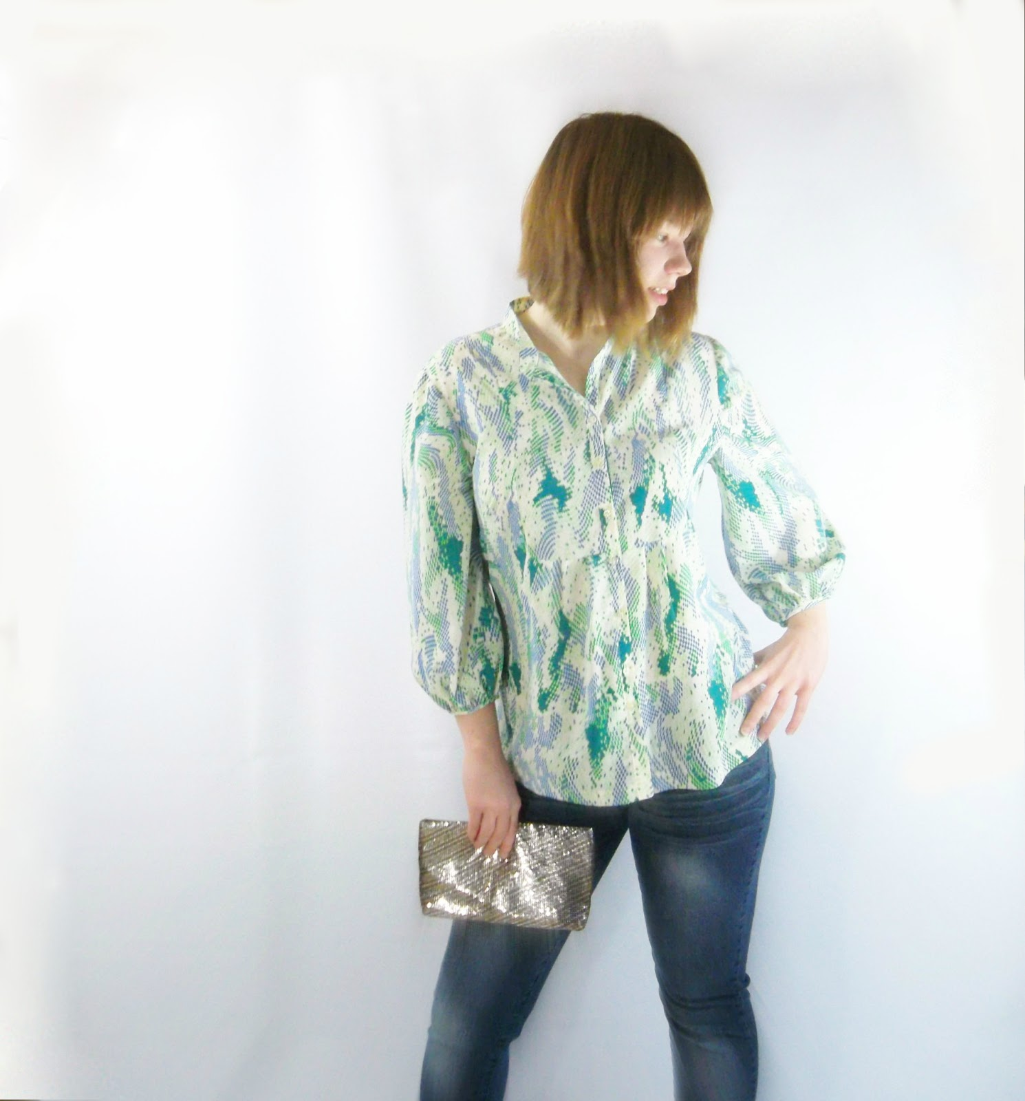 handmade vintage blouse geometric size large