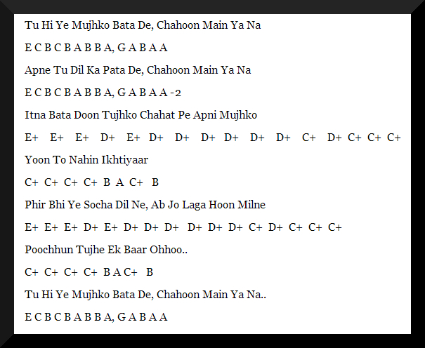 keyboard notes for hindi songs with chords pdf
