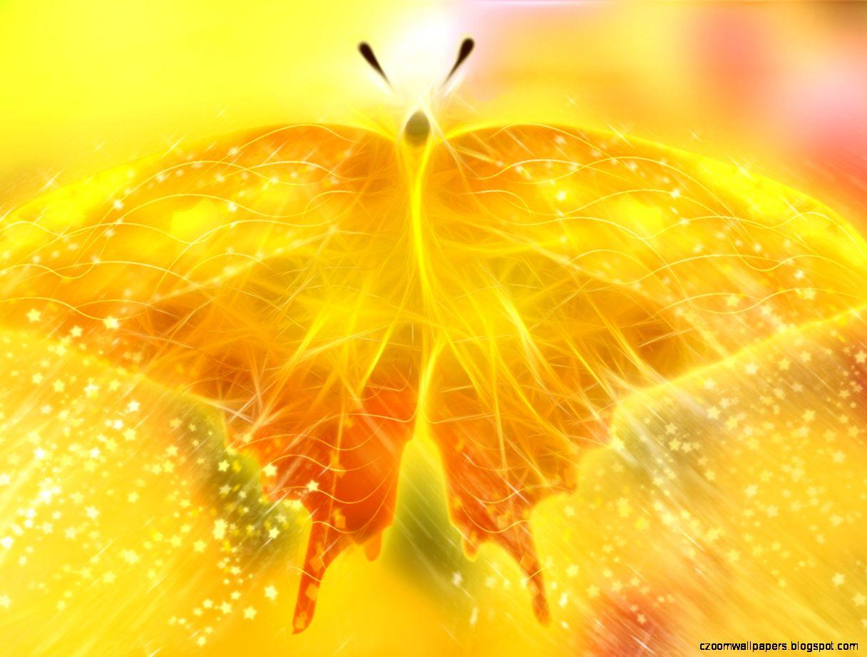 Yellow butterfly digital art wallpaper