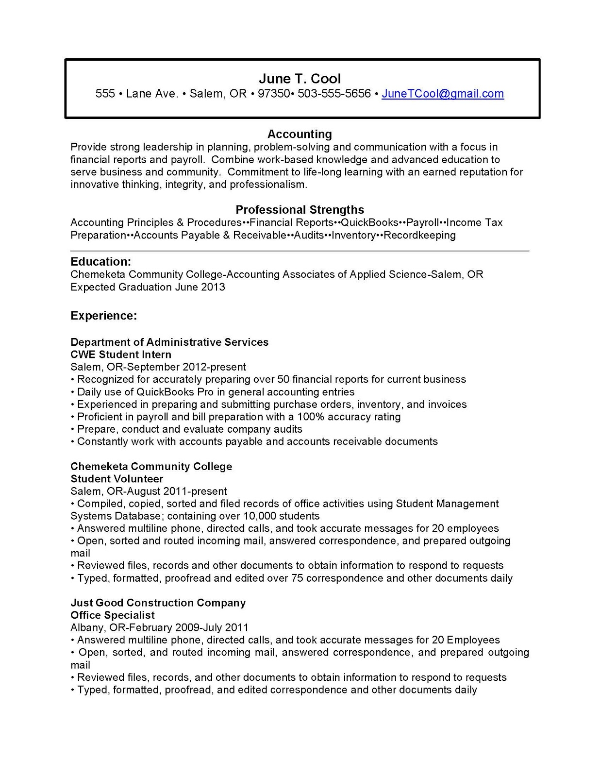example of chronological resume example of chronological resume 179