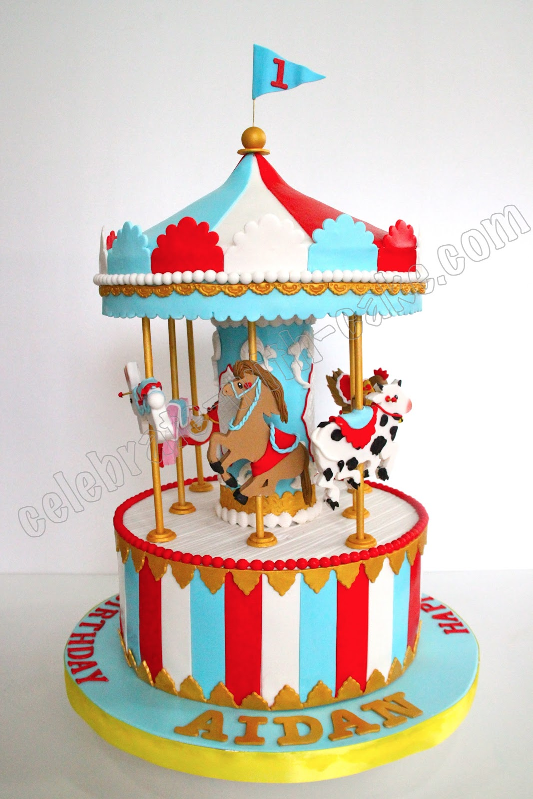 Circus Gold Birthday Cakes