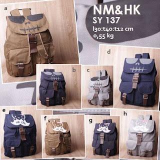 jual online tas ransel kanvas/ jeans gambar nightmare dan hello kitty warna terbaru harga murah