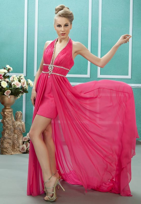 Chiffon Halter A-Line Short High low Prom Dress