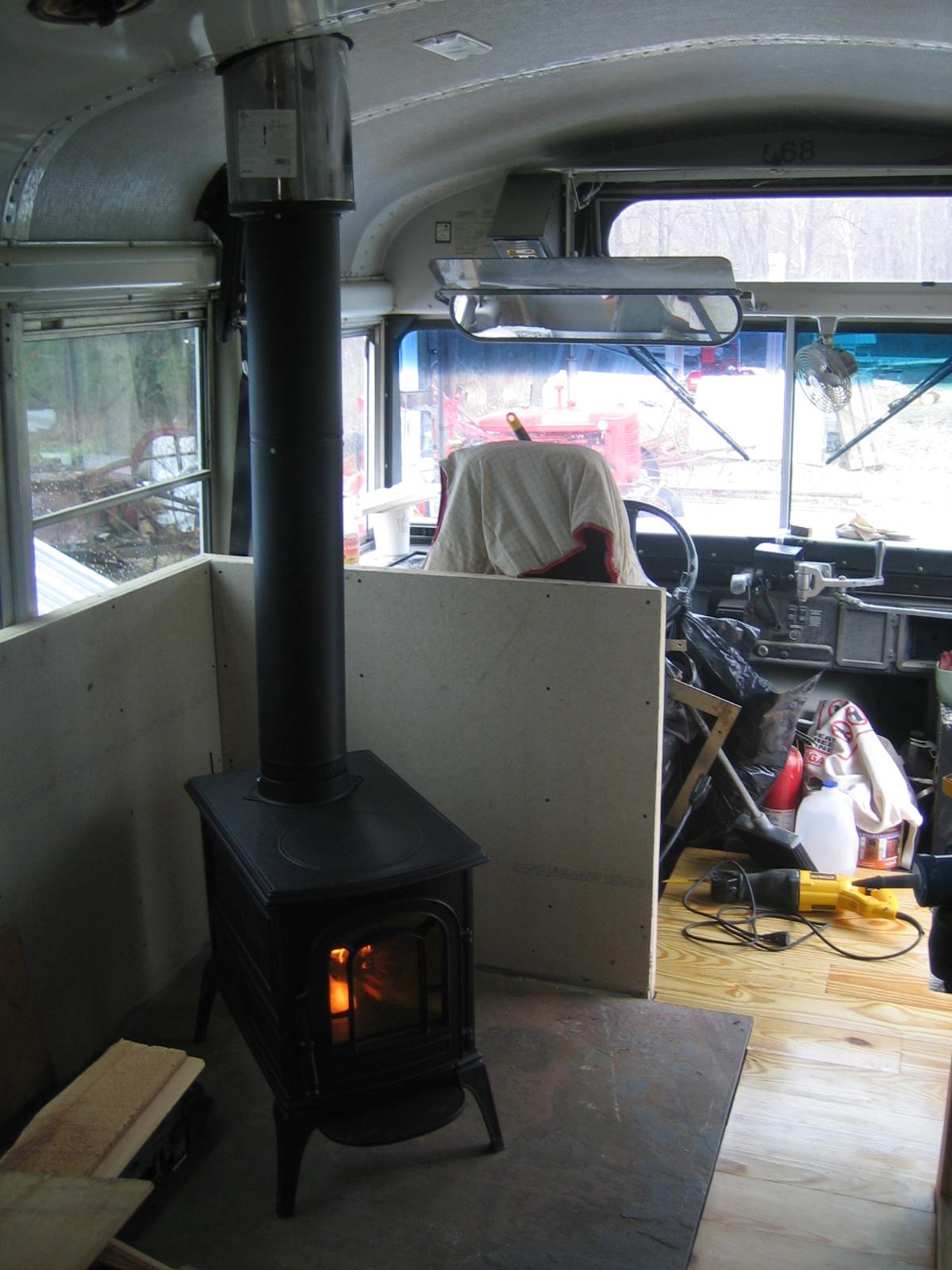 farm bus wood stove