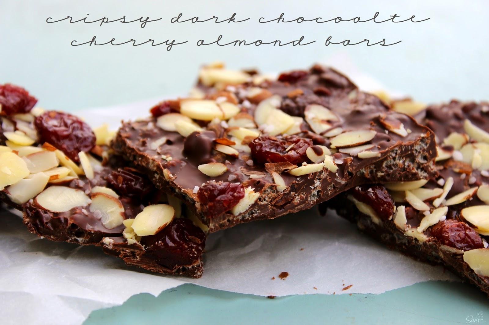 Crispy Dark Chocolate Cherry & Almond Bars | Love Bakes Good Cakes