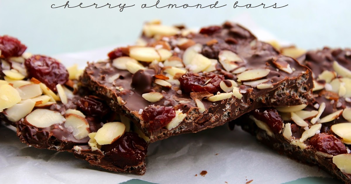 Crispy Dark Chocolate Cherry & Almond Bars | Love Bakes ...