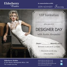 Request your personal VIP invitation to the Justin Alexander Designer Weekend at Elderberry Brides