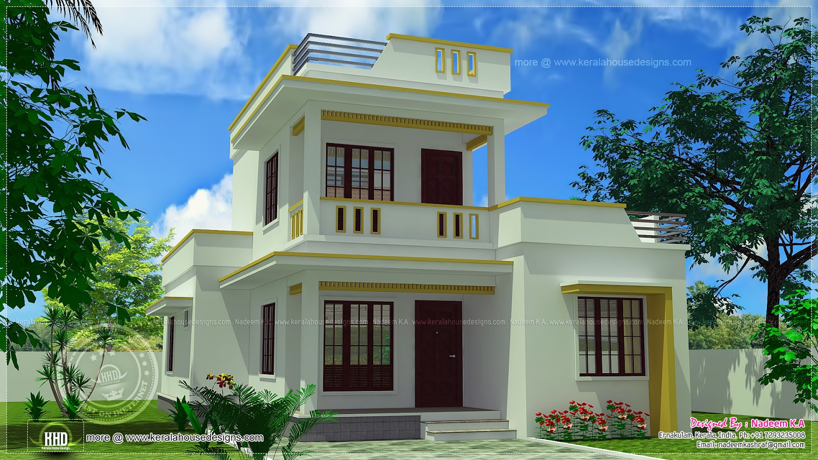Simple flat roof home design in 1305 sq feet kerala for Home design pictures