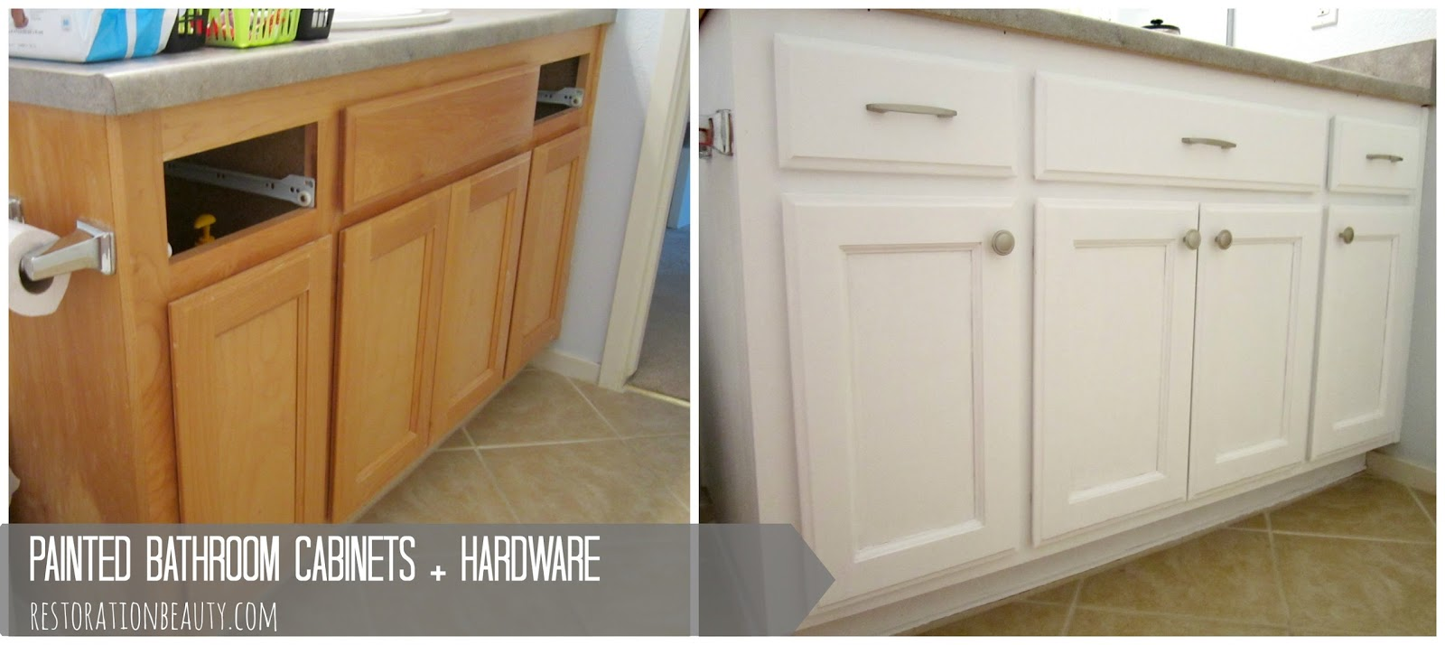 How To Repaint Bathroom Cabinets White restoration beauty: painted bathroom cabinets + hardware