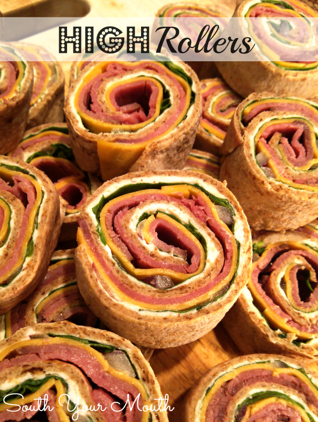 High Rollers! Swanky pinwheel appetizers made with roast beef, horseradish, cheddar, fresh spinach and cream cheese. They're easy too!