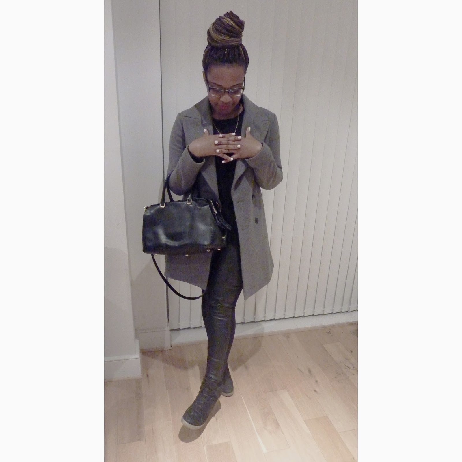 La Mode D'Emm Top Sneaker Wedges Zara Double Breasted Grey Coat
