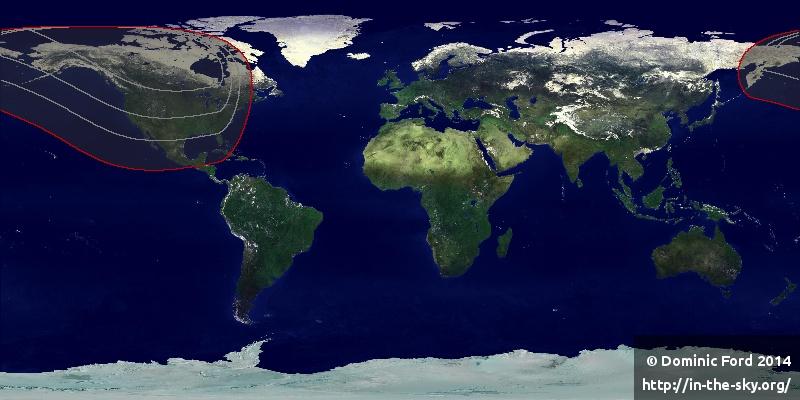 Các khu vực được khoanh vùng màu đỏ là có thể quan sát được, trong đó không có Việt Nam. Hình minh họa : In-the-sky.org.