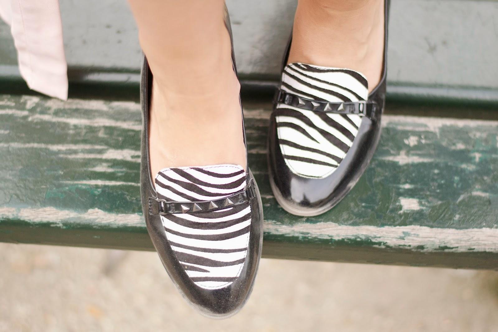 Zebra print loafers