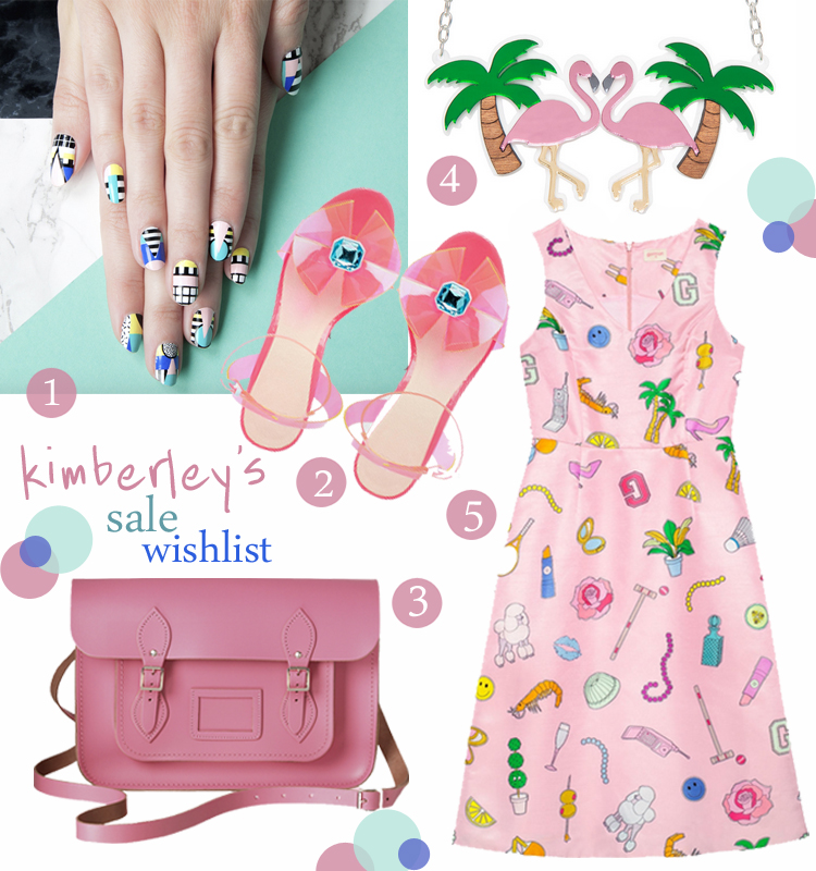 Sale picks, best of the January sales, Walalanails x Alfa K nail wraps, ASOS pink barbie heels, The Cambridge Satchel Company pink satchel, Sugar and Vice acrylic flamingo necklace, Gorman Clothing pink printed dress
