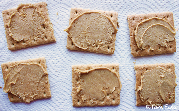 peanut butter, graham crackers, snack