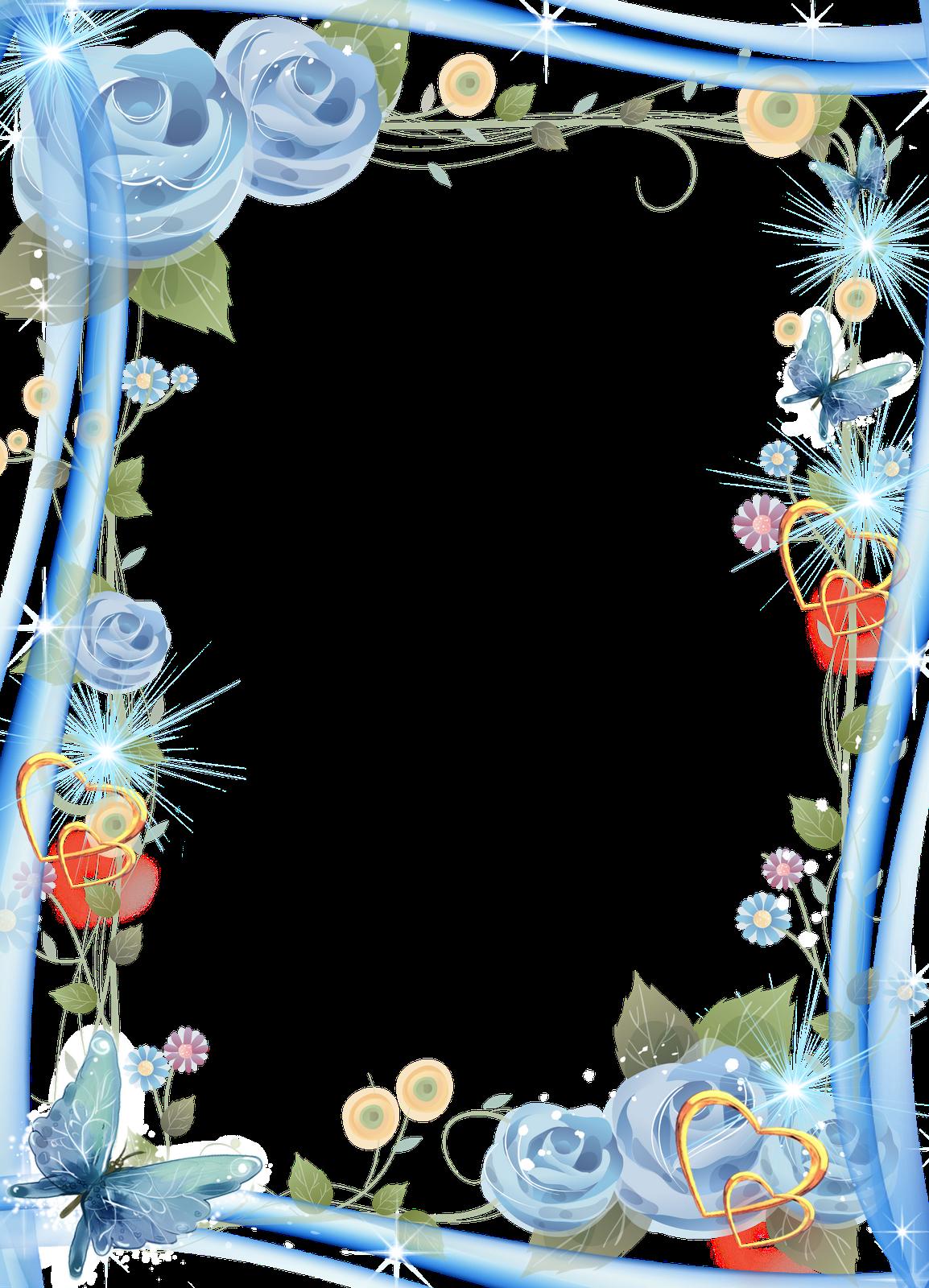 Artes em psd: 04 Molduras Românticas Azul em PNG