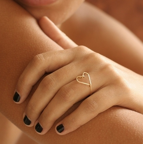 Heart shape golden ring for women