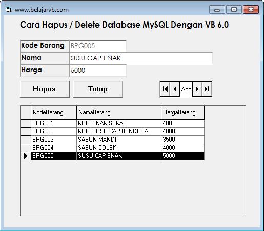 Cara Hapus Database MySQL Dengan VB 6.0