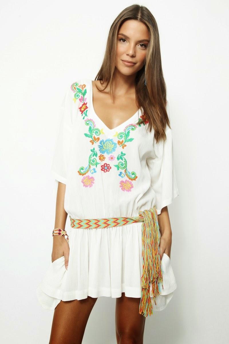 H.Preppy - Vestido branco às flores