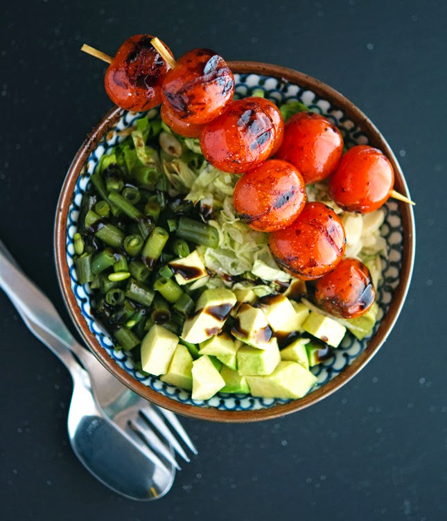 Green Chopped Salad with Balsamic-Grilled Cherry Tomato Skewers