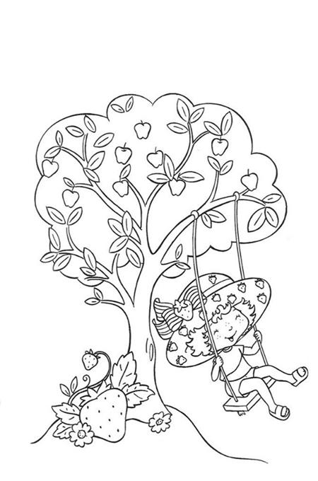 بنت تركب أرجوحة بجانب شجرة وهي مبتسمة صورة لتلوين الأطفال