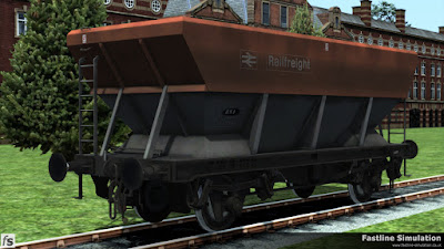 Fastline Simulation: Railfreight flame red and grey liveried HEA coal hopper recoded as an RNA barrier wagon.