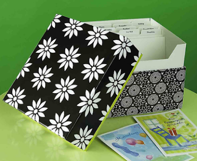 greetinb card organizer box in black and white, with flowers