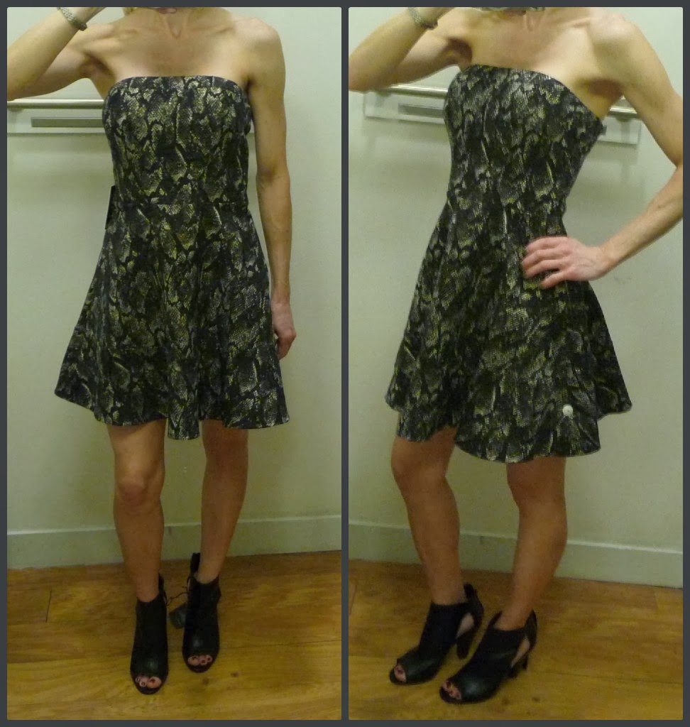 Express strapless snakeskin print fit and flare dress, runway peep toe cut out booties