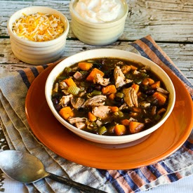 Leftover Turkey and Sweet Potato Soup Recipe with Black Beans and Lime found on KalynsKitchen.com