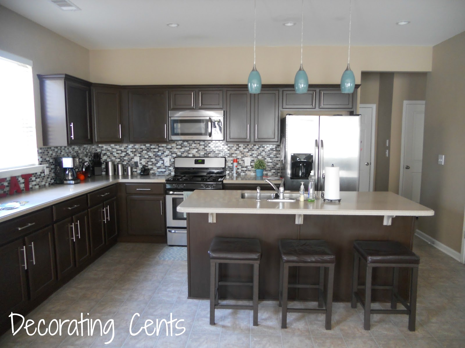 Light Blue and Brown Kitchen Decor