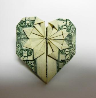 how to make an origami heart out of a dollar