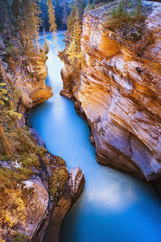 Athabasca ,Jasper, Alberta, Canada  Falls At Dusk