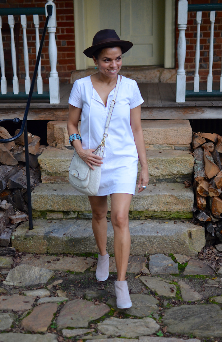 White dress with booties look